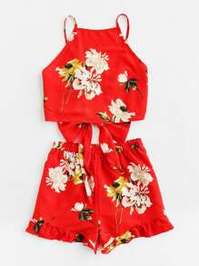 Tie Back Cami And Frilled Shorts Set