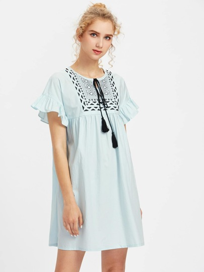 Tassel Tie Embroidered Yoke Frilled Smock Dress