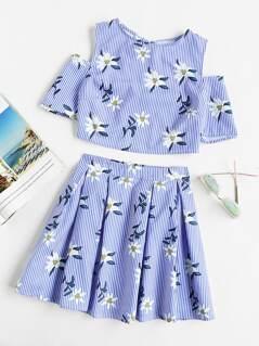 Open Shoulder Split Tie Back Top & Box Pleated Skirt Set