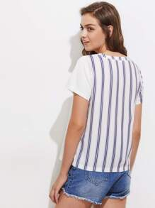 Patch Pocket Vertical Striped Tee pictures
