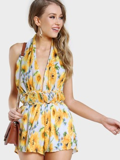 Sunflower Print Braided Romper YELLOW