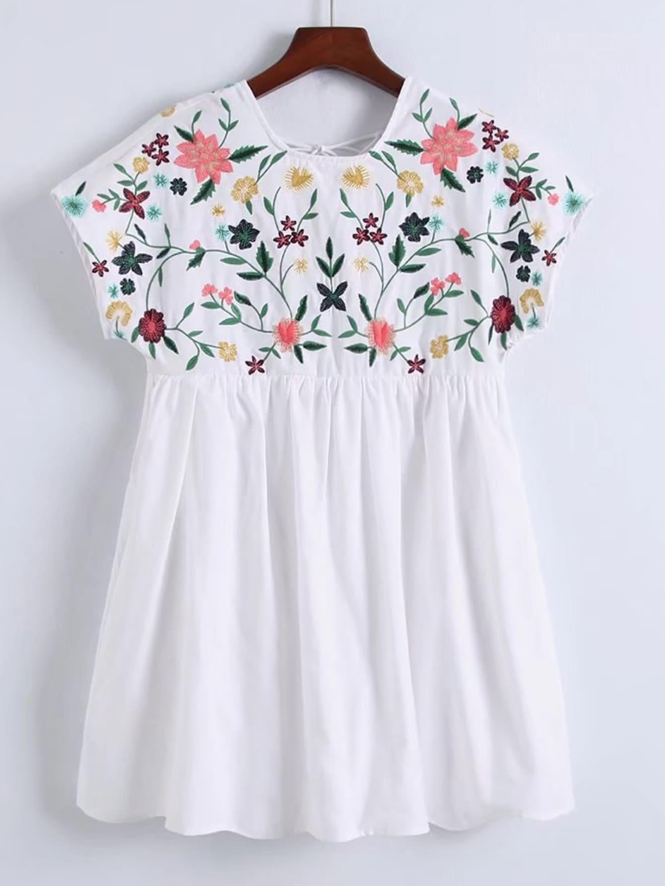 Фото Flower Embroidery Cap Sleeve Dress. Купить с доставкой