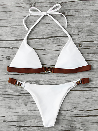 Contrast Trim Triangle Bikini Set