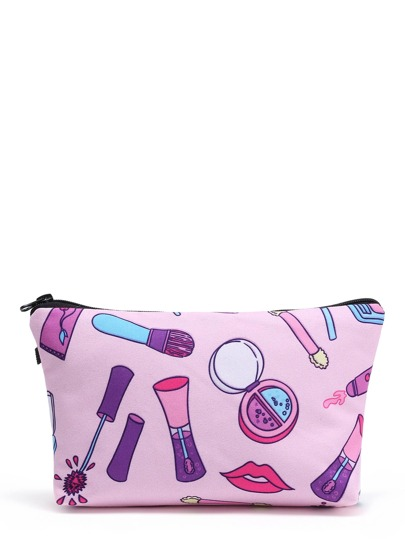 Cartoon Print Zipper Makeup Bag