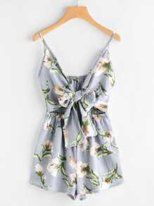 Floral Print Cut Out Knot Front Cami Romper