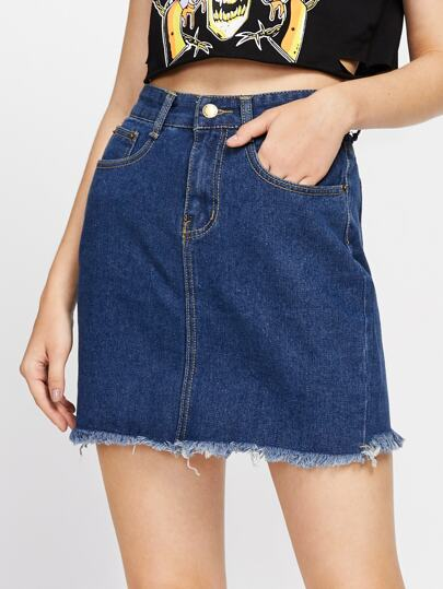 Fray Hem Denim Skirt