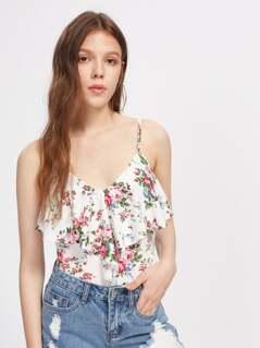Rose Print Flounce Trim Bodysuit