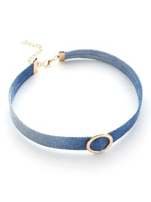 Ring Front Denim Choker