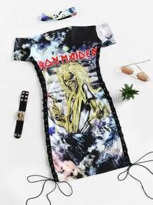 Choker Neck Lace Up Side Sheath Dress