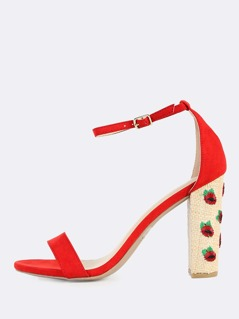 Ankle Strap Embroidered Straw Heels RED