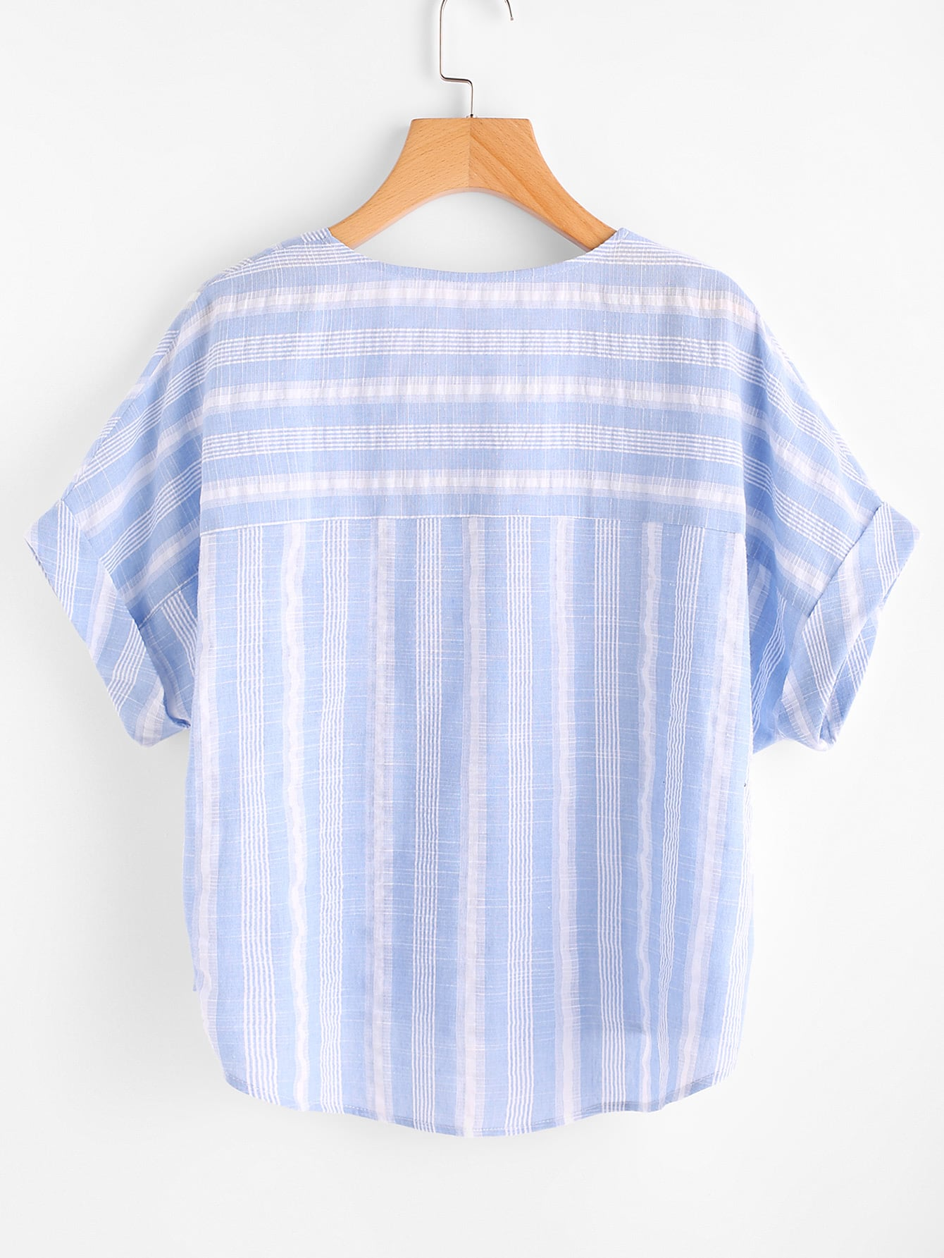 Rolled Cuff Stepped Hem Striped Top