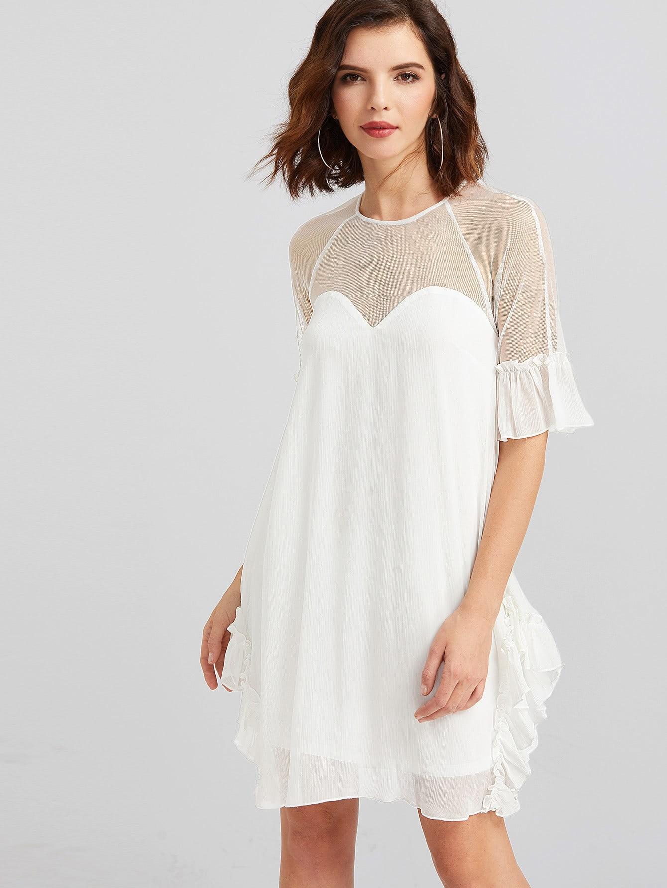 Фото Mesh Sweetheart Buttoned Keyhole Back Ruffle Dress. Купить с доставкой