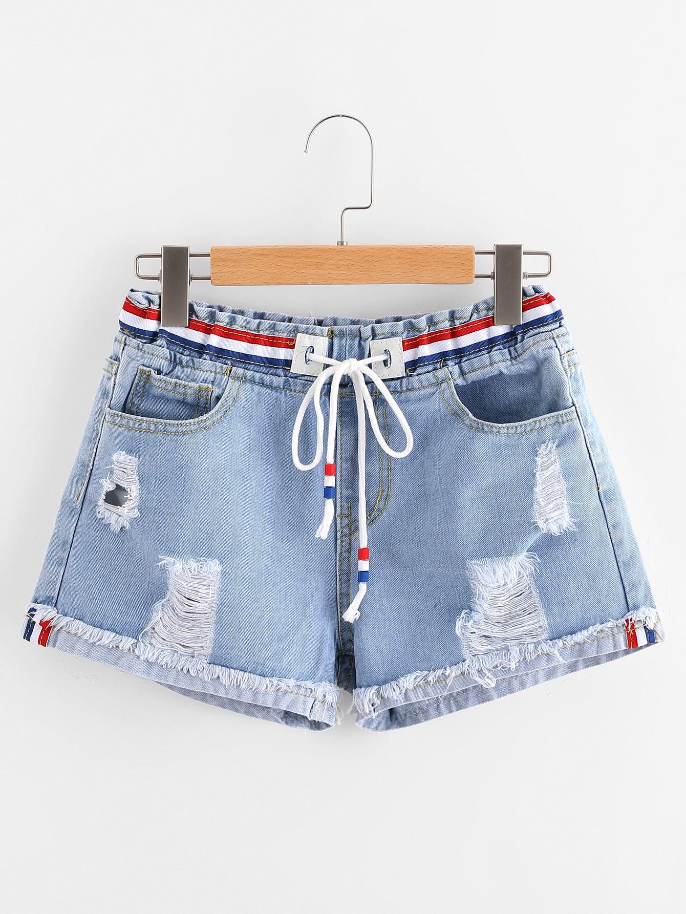 Ripped Cuffed Striped Tape Detail Denim Shorts