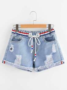 Shorts de rayas en denim