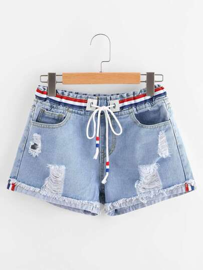 Ripped Cuffed Striped Tape Detail Denim Shorts