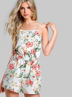 Crisscross Tie Back Floral Playsuit