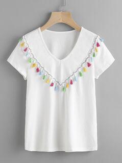 Colorful Tassel Trim T-shirt