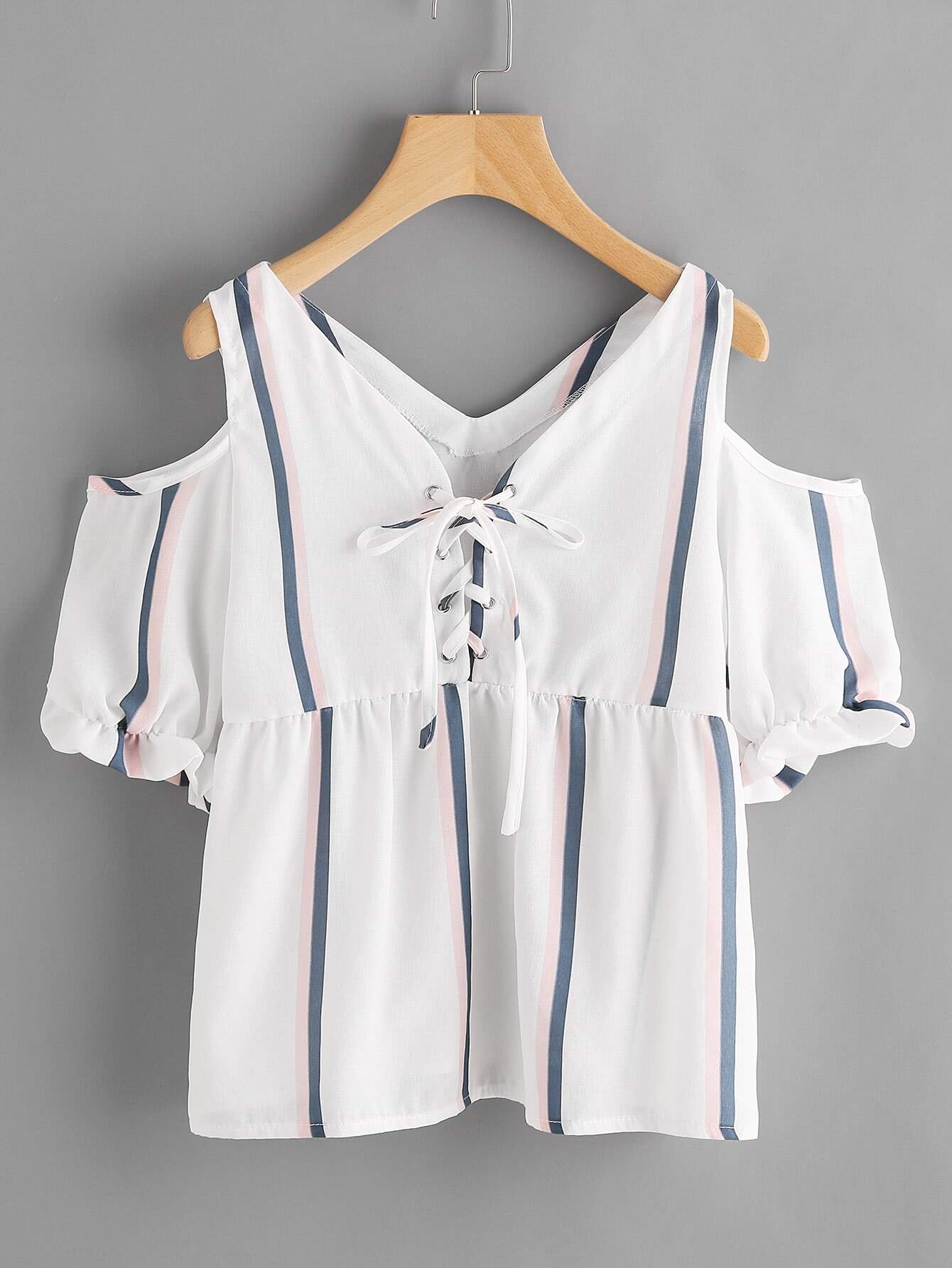 Frill Striped Grommet Lace Up Smock Top