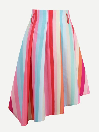 Rainbow Stripe Asymmetric Skirt