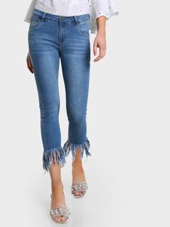 Mid Rise Raw Hem Denim Jeans DENIM