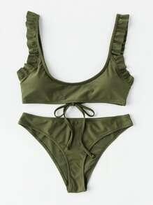 Frill Trim Tie Back Bikini Set