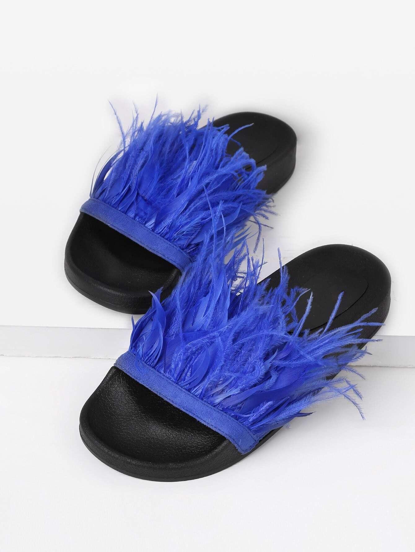 Faux Fur Detail Slip On Sandals