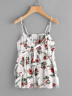 Botanical Print Surplice Wrap Tiered Cami Top