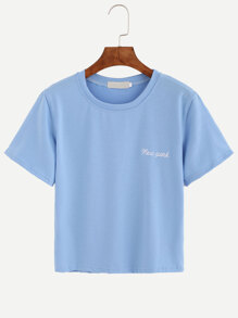 Letter Embroidered Graphic T-shirt