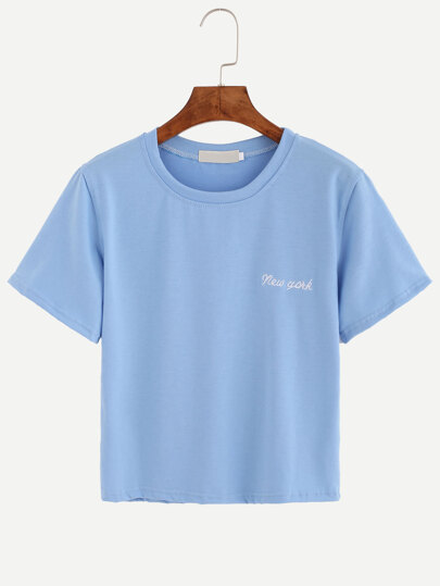 Blue Letter Embroidered T-shirt