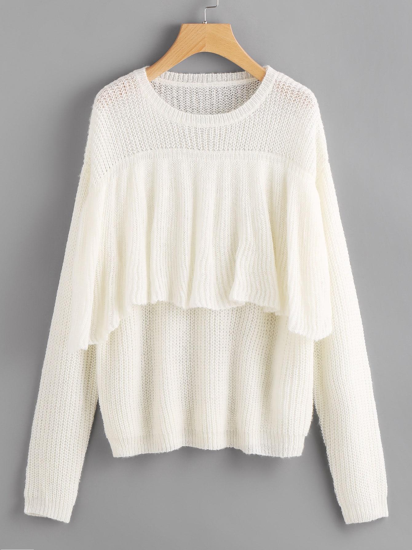 Flounce Trim Loose Knit Jumper flounce trim loose knit jumper