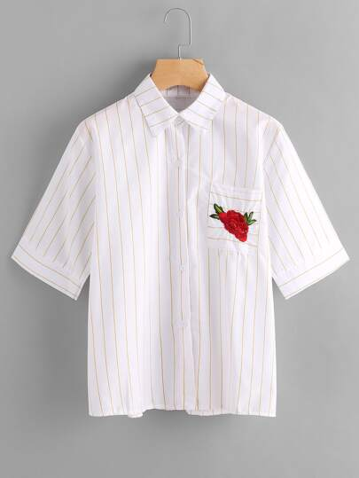 Rose Embroidered Stripe Shirt With Chest Pocket