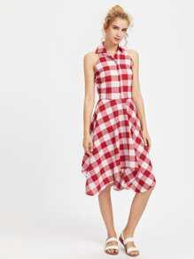 Checkered Hanky Hem Shirt Dress