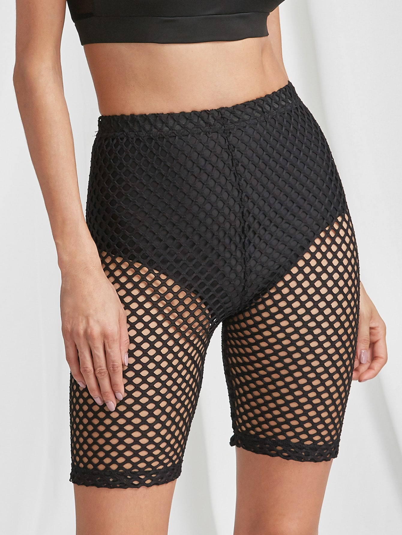 High Rise Fishnet Short Leggings
