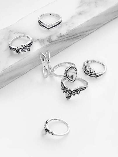 Hollow Flower Design Ring Set 7pcs