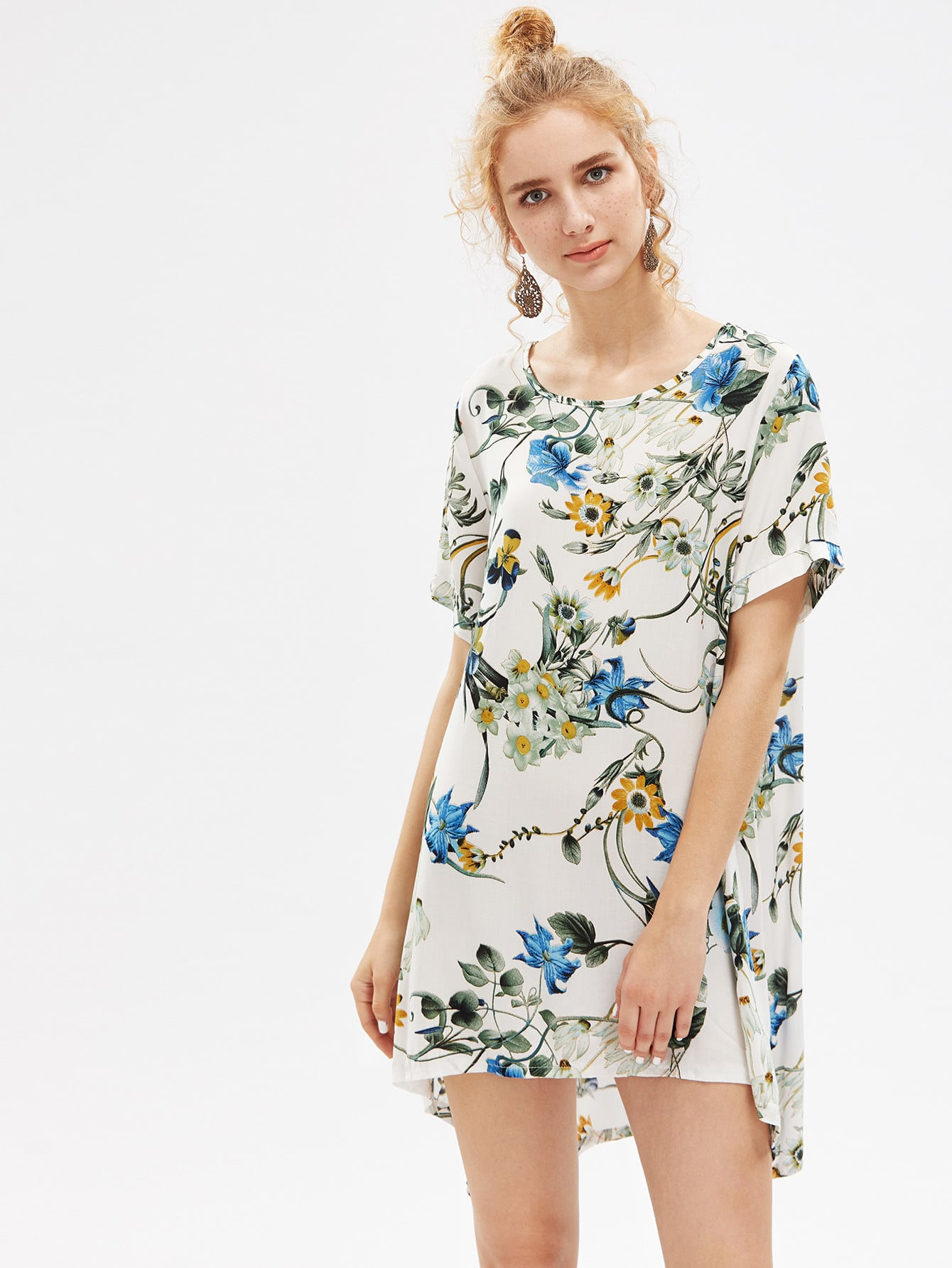 Фото Botanical Print Shift Dip Hem Dress. Купить с доставкой
