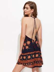 Florals Backless Cami Dress