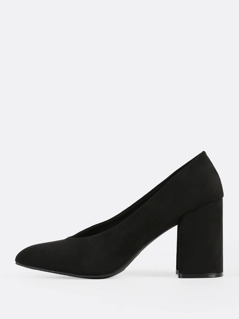 Chunky Suede V Cut Pumps BLACK