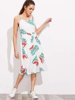 Watermelon Print Cutout Bow Back Smock Cami Dress