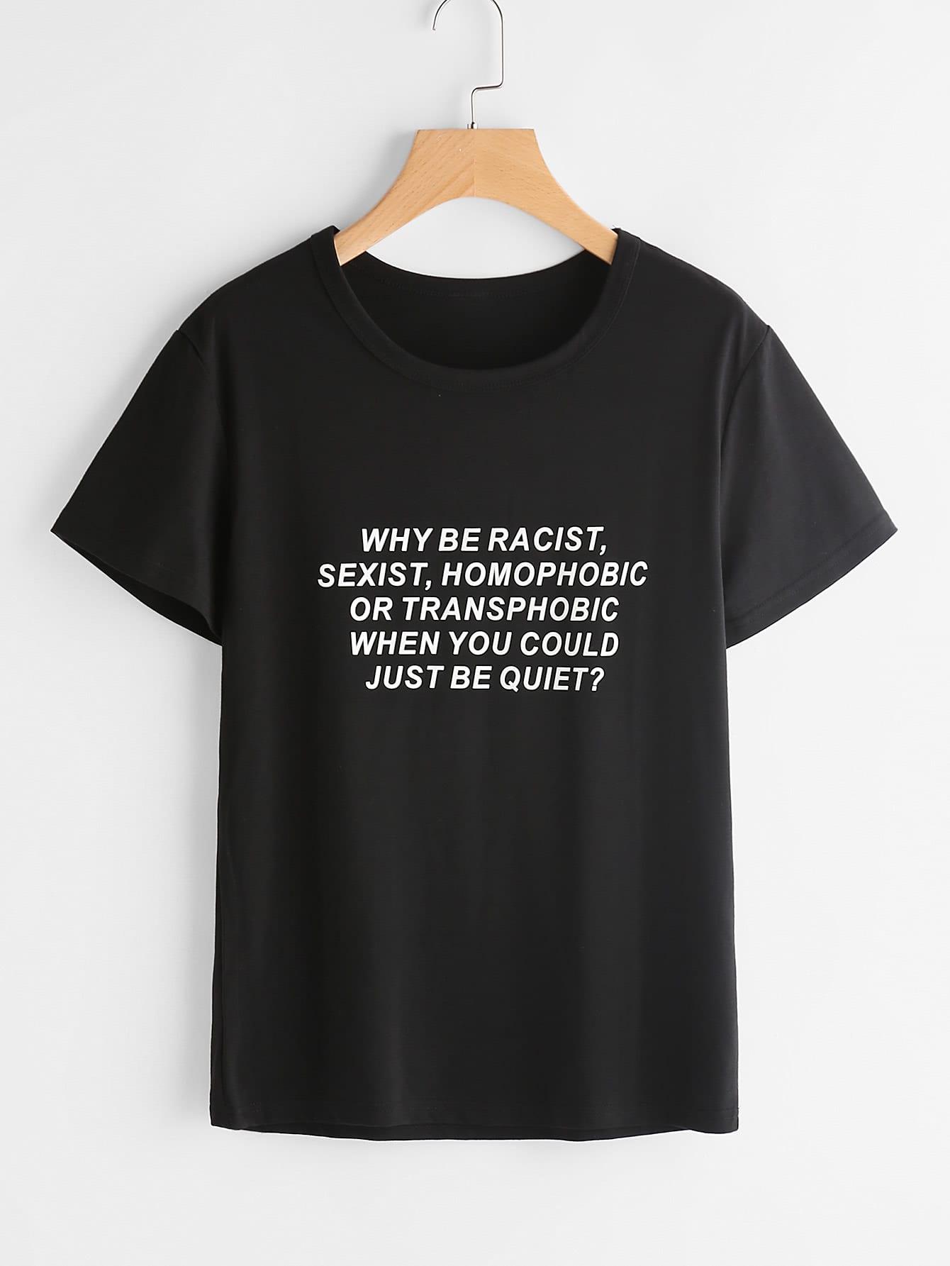 Sentence Print T-shirt -SheIn(Sheinside)
