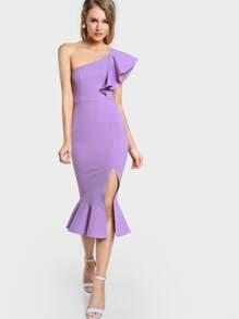 Flounce One Shoulder Slit Fishtail Dress