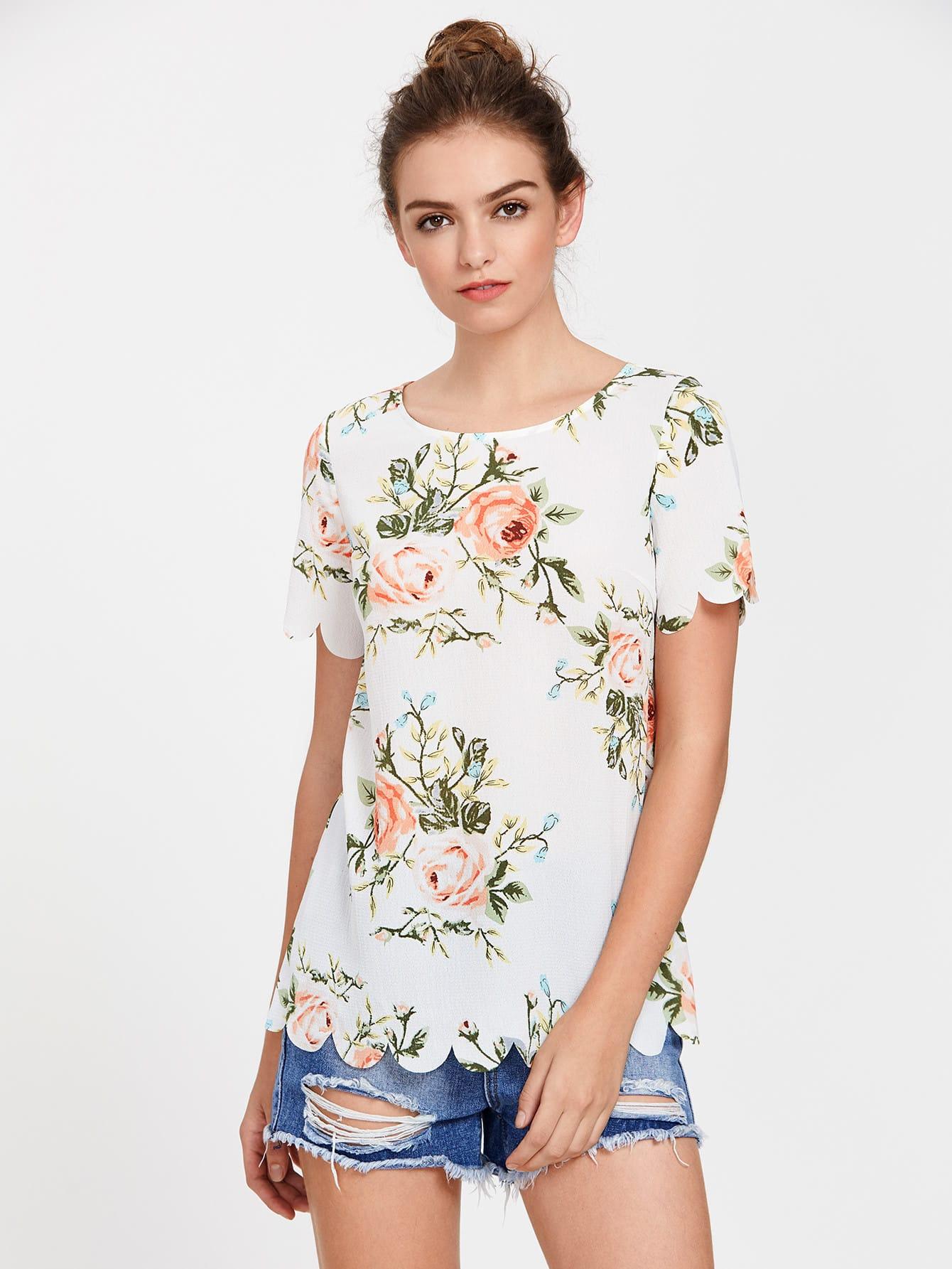 Купить Модный топ с фестонами и цветочным принтом, Luiza, SheIn