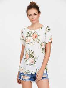 Flower Print Scallop Edge Top