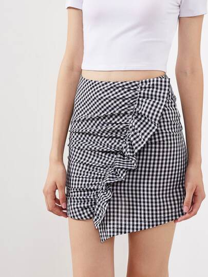 Ruched Frill Trim Staggered Gingham Skirt