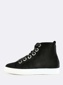 High Top Lace Up Sneakers BLACK