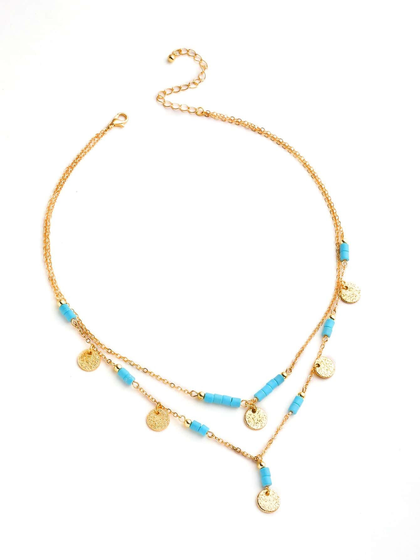 Фото Sequin And Turquoise Detail Layered Necklace. Купить с доставкой
