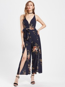 Random Florals Plunge Crisscross Backless Split Jumpsuit