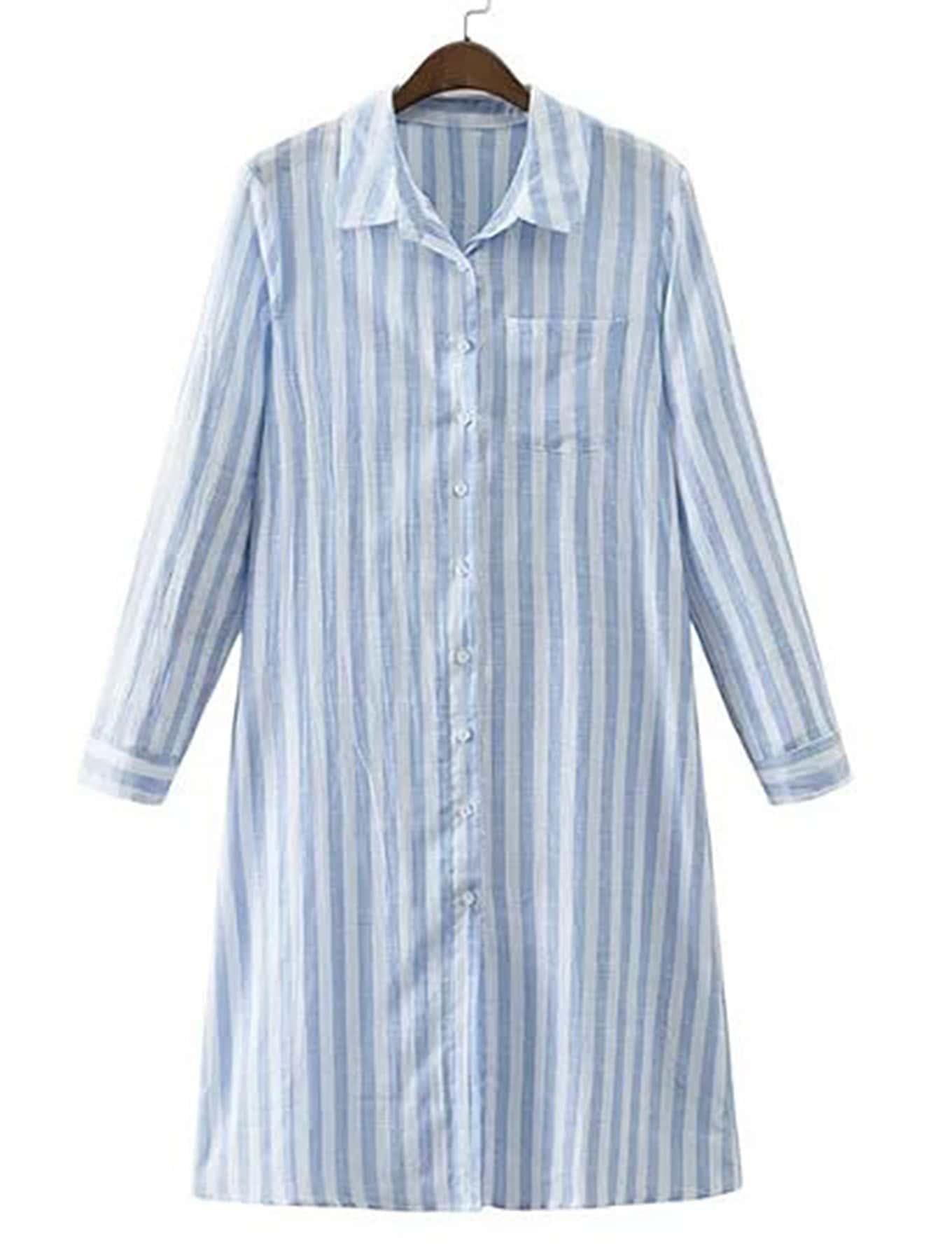 Vertical striped pocket shirt dress shein sheinside for Vertical striped dress shirt