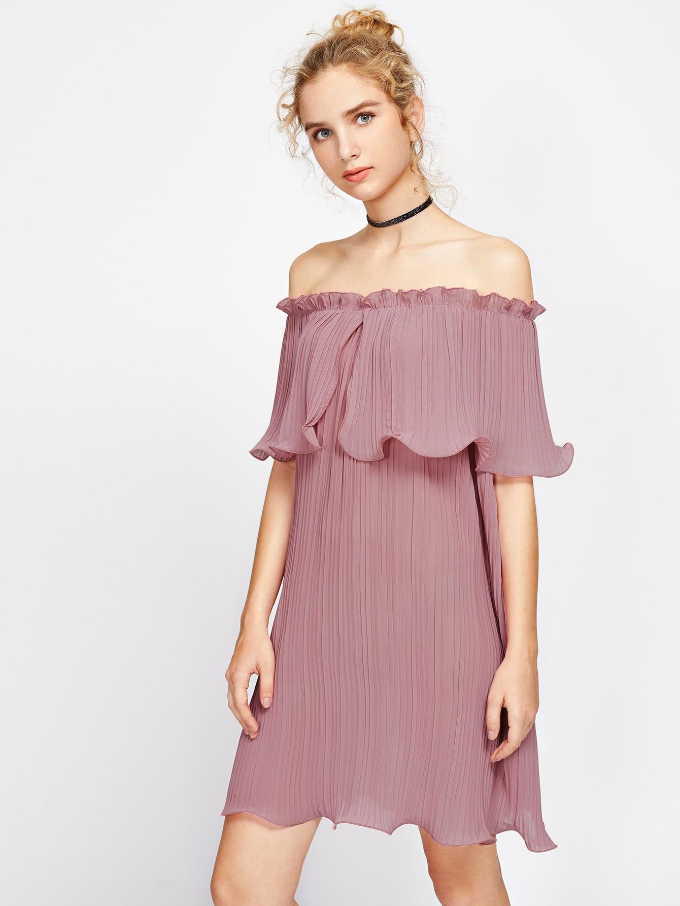 Фото Layered Pleated Lettuce Hem Bardot Dress. Купить с доставкой