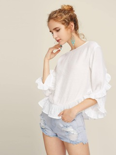 Buttoned Keyhole Back Frill Trim Top