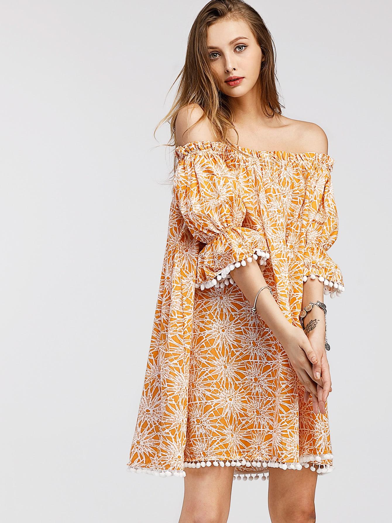 Фото Bardot Seamless Pattern Pom Pom Trim Dress. Купить с доставкой